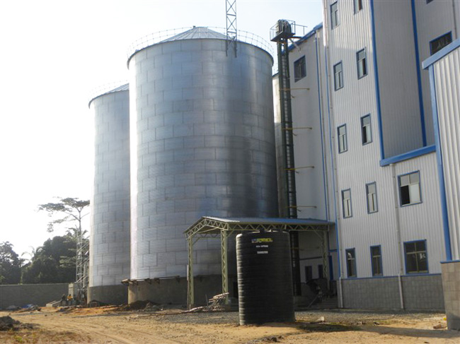 Chicken feed storage silo in Tanzania