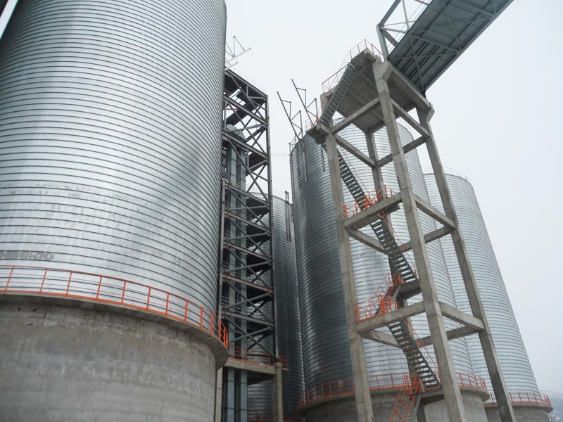 Flat bottom steel silo for industrial powder storage